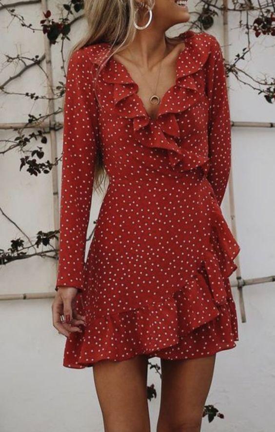 flattering red polka dot wrap dress