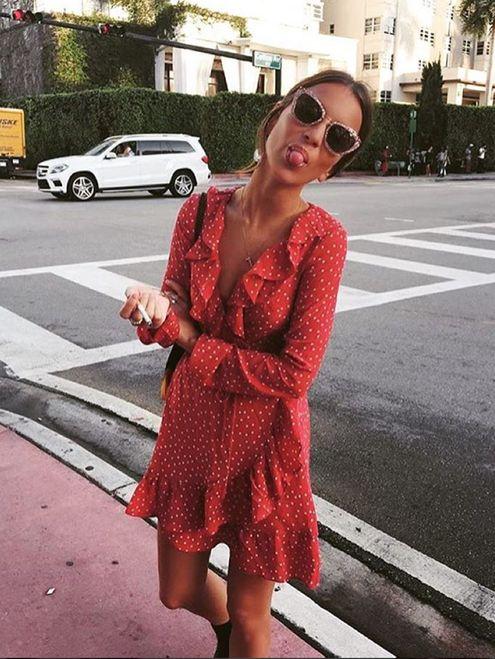 red wrap dress for summer model