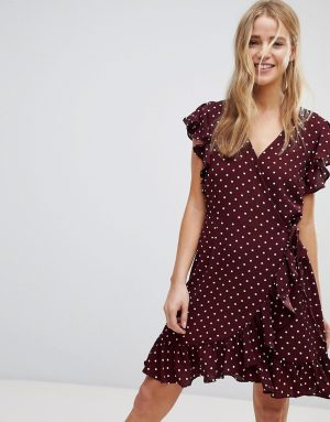 New Look Polka Dot Ruffle Wrap Dress