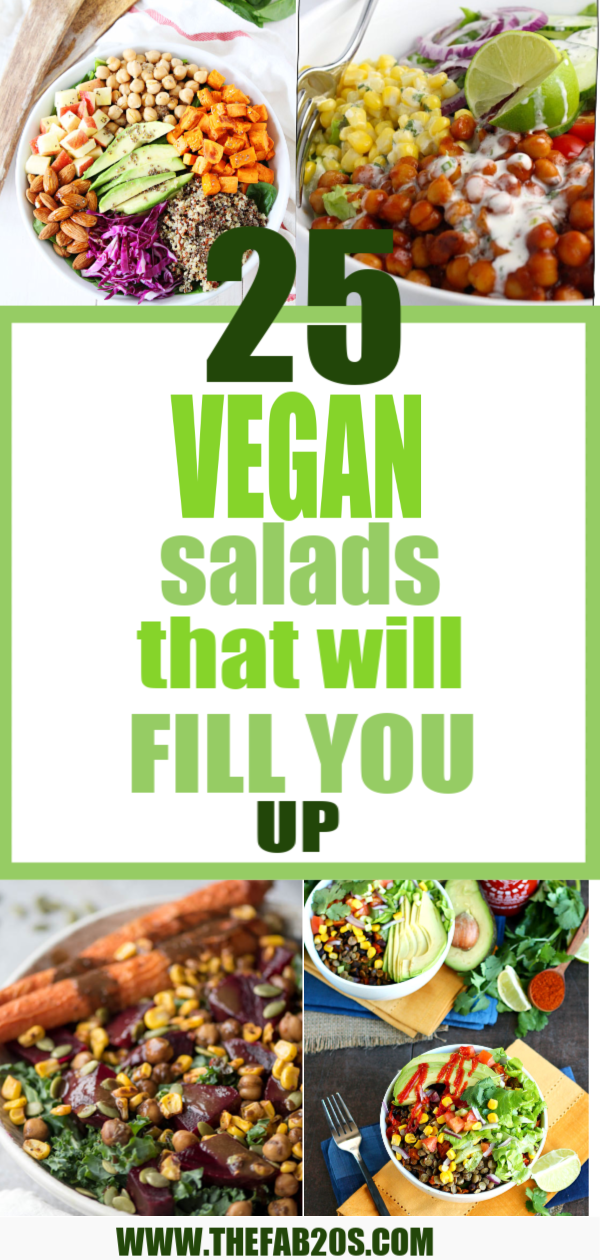 25 delicious vegan salads that will fill you up and have a healthy source of protein. Show your friends that not 'all vegans eat is rabbit food' with these unique and delicious twists on salads #vegan #veganrecipes #cleaneats