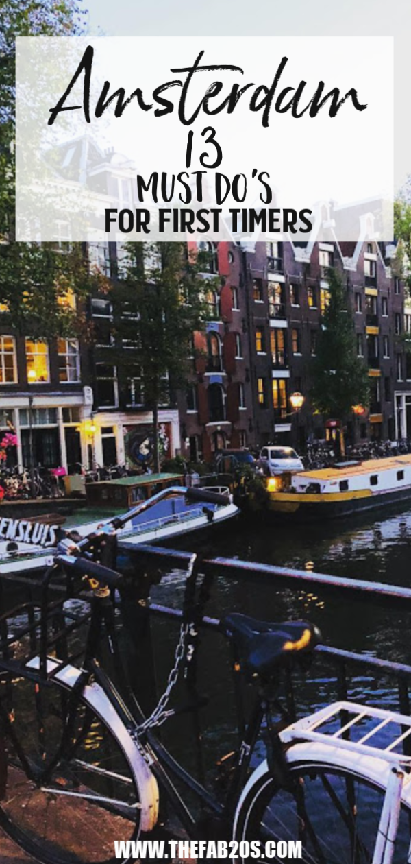 13 Must Do's In Amsterdam For first Timers. This city is so beautiful and there is so much to do. From the coffee shops to the Flower Market. Try some authentic Dutch food or simply walk along the canals. #Amsterdam #Netherlands
