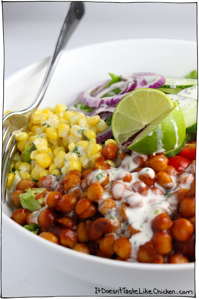 BBQ Chickpea Salad. Here are 25 delicious vegan salads that will fill you up andhave a healthy source of protein. Show your friends that not 'all vegans eat is rabbit food' with these unique and delicious twists on salads #vegan
