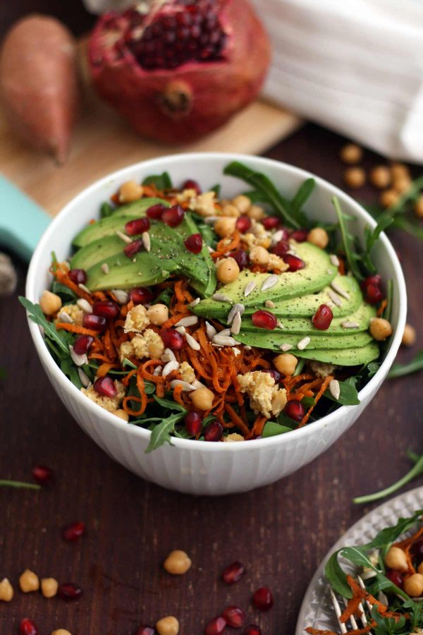 Healthy-Sweet-Potato-Noodle-Salad-Chickpeas-Rocket. Here are 25 delicious vegan salads that will fill you up and have a healthy source of protein. Show your friends that not 'all vegans eat is rabbit food' with these unique and delicious twists on salads #vegan