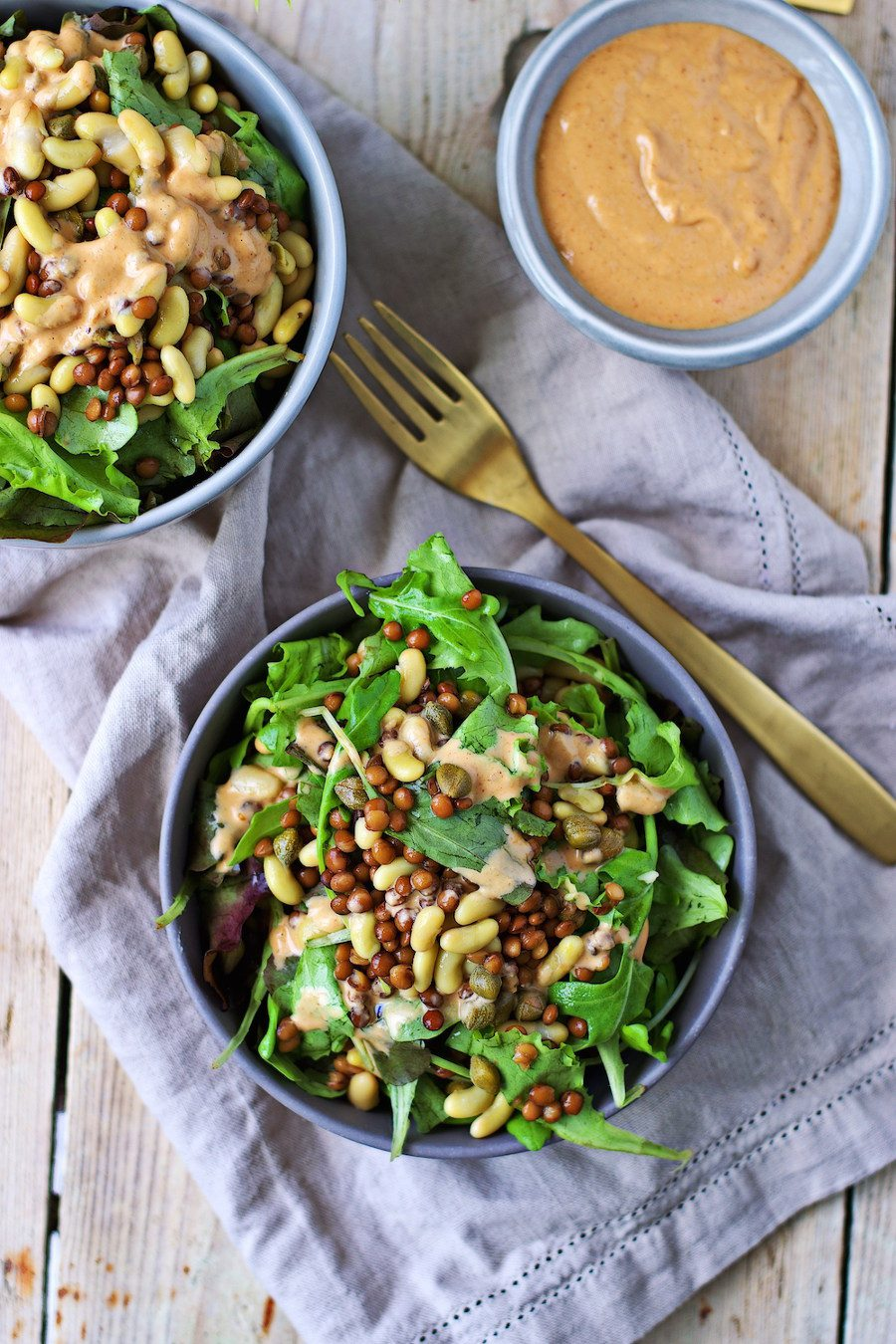 High Protein Salad with Green Kidney Beans and Lentils. Here are 25 delicious vegan salads that will fill you up and have a healthy source of protein. Show your friends that not 'all vegans eat is rabbit food' with these unique and delicious twists on salads #vegan