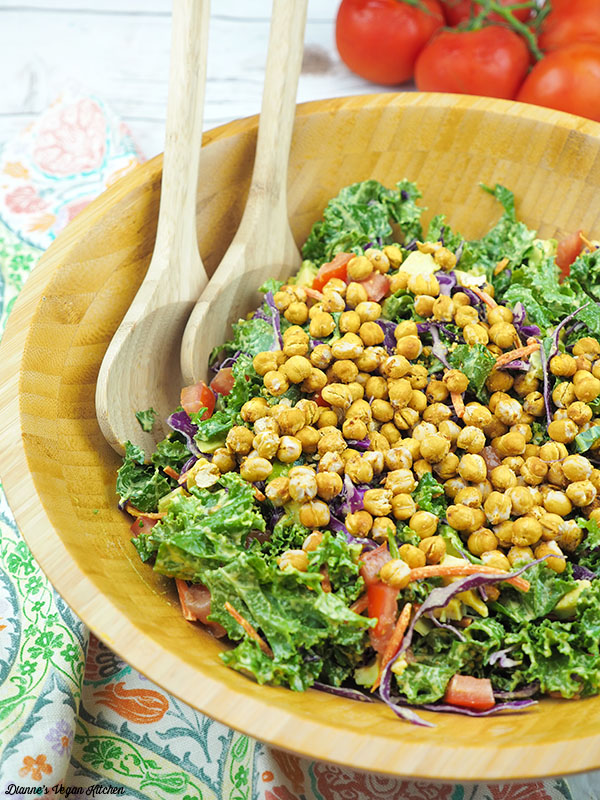 Tahini Kale Saalad With Chickpeas. Here are 25 delicious vegan salads that will fill you up and have a healthy source of protein. Show your friends that not 'all vegans eat is rabbit food' with these unique and delicious twists on salads #vegan