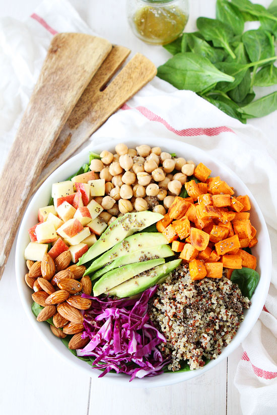 Vegan Power Salad with Lemon Chia Seed Dressing. Here are 25 delicious vegan salads that will fill you up andhave a healthy source of protein. Show your friends that not 'all vegans eat is rabbit food' with these unique and delicious twists on salads #vegan