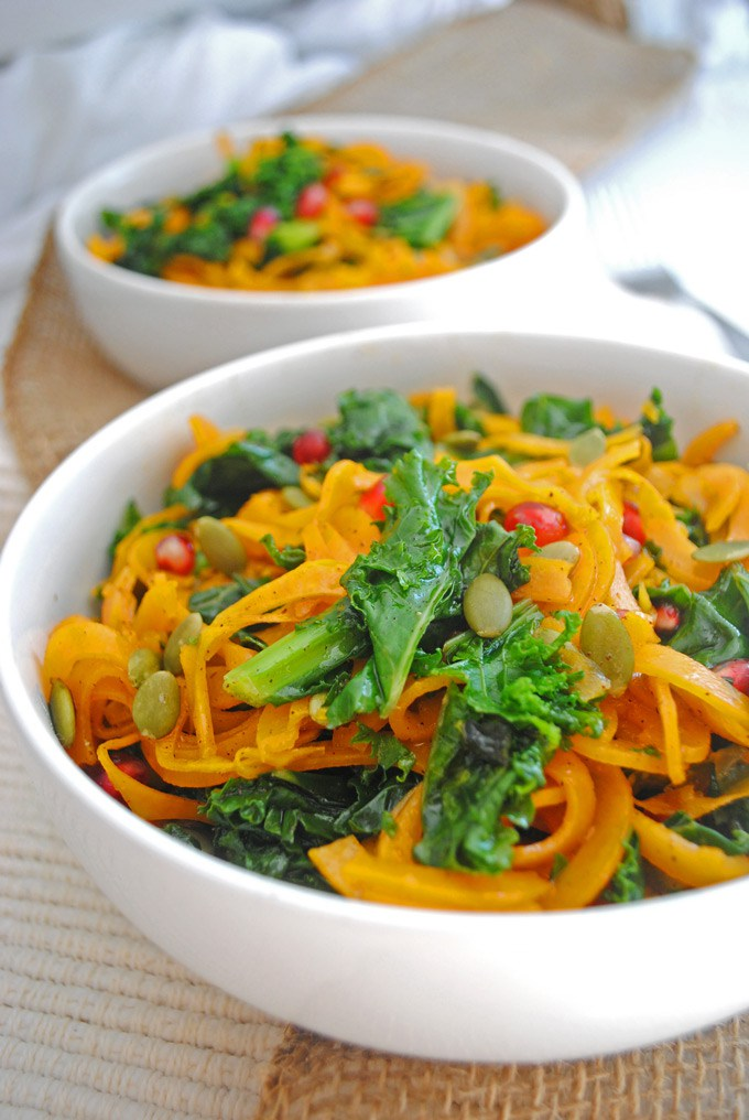 Roasted Butternut Squash Kale Salad. Here are 25 delicious vegan salads that will fill you up and have a healthy source of protein. Show your friends that not 'all vegans eat is rabbit food' with these unique and delicious twists on salads #vegan