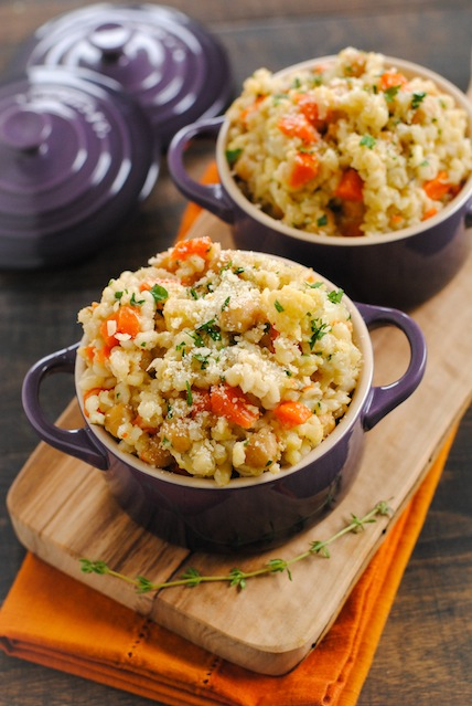 Slow Cooker Vegan Barley Chickpea Risotto.  Here are 17 amazing vegan crock pot recipes that you won't believe are even vegan.. #vegan #crockpot #vegancrockpot #foodanddrink #veganrecipes #slowcooker #dinner