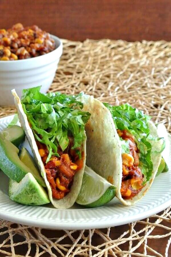 Vegan Chipotle Tacos.  Here are 17 amazing vegan crock pot recipes that you won't believe are even vegan.. #vegan #crockpot #vegancrockpot #foodanddrink #veganrecipes #slowcooker #dinner