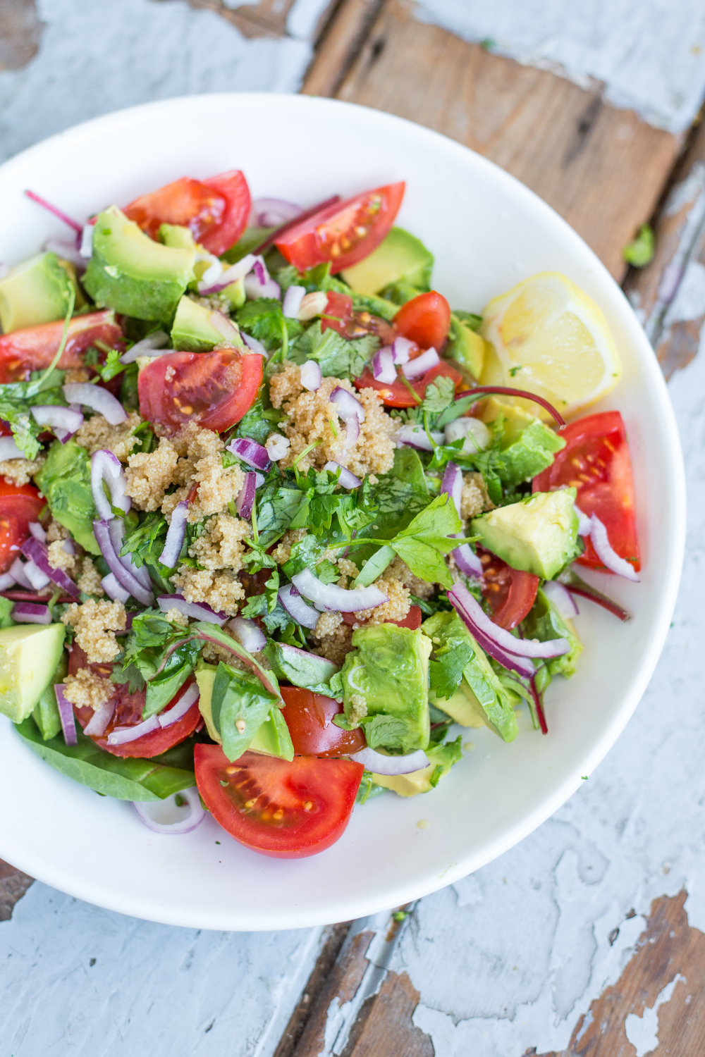 Vegan Amaranth Salad with Swiss Chard and Avocado. Here are 25 delicious vegan salads that will fill you up andhave a healthy source of protein. Show your friends that not 'all vegans eat is rabbit food' with these unique and delicious twists on salads #vegan