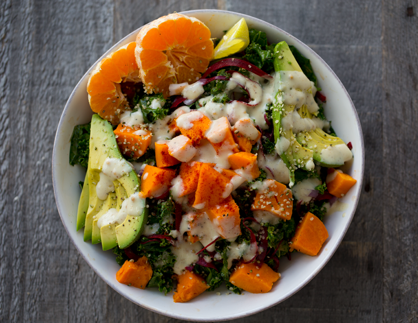 Vegan Avocado Sweet Potato Bowl. Here are 25 delicious vegan salads that will fill you up andhave a healthy source of protein. Show your friends that not 'all vegans eat is rabbit food' with these unique and delicious twists on salads #vegan