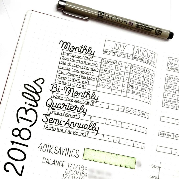 Bill Tracker Bujo Spread. Get organized and conquer your day with 15 BULLET JOURNAL PAGES To Help You Finally Adults. Focus on your health, creating better habits, and living your best life with a bunch of ideas on how to better manage and organize your daily life with a Bujo #Bujo #BulletJournal #bulletjournalideas #bulletjournalinspiration
