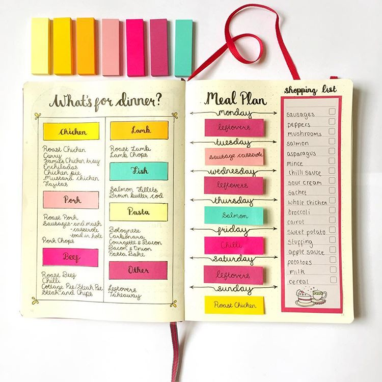 Meal Plan In Your Bullet Journal. Get organized and conquer your day with 15 BULLET JOURNAL PAGES To Help You Finally Adults. Focus on your health, creating better habits, and living your best life with a bunch of ideas on how to better manage and organize your daily life with a Bujo #Bujo #BulletJournal #bulletjournalideas #bulletjournalinspiration