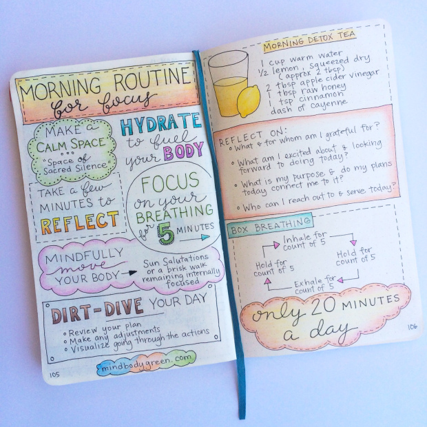 Morning Routine Bullet Journal Spread. Get organized and conquer your day with 15 BULLET JOURNAL PAGES To Help You Finally Adults. Focus on your health, creating better habits, and living your best life with a bunch of ideas on how to better manage and organize your daily life with a Bujo #Bujo #BulletJournal #bulletjournalideas #bulletjournalinspiration