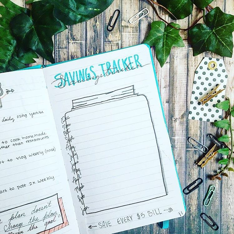 Savings Tracker Bullet Journal Spread Inspiration. Get organized and conquer your day with 15 BULLET JOURNAL PAGES To Help You Finally Adults. Focus on your health, creating better habits, and living your best life with a bunch of ideas on how to better manage and organize your daily life with a Bujo #Bujo #BulletJournal #bulletjournalideas #bulletjournalinspiration