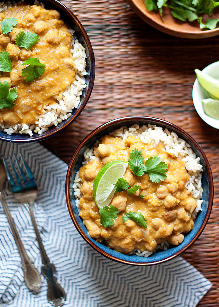 Vegan Slow Cooker Pumpkin Chickpea and Red Lentil Curry. Here are 17 amazing vegan crock pot recipes that you won't believe are even vegan.. #vegan #crockpot #vegancrockpot #foodanddrink #veganrecipes #slowcooker #dinner
