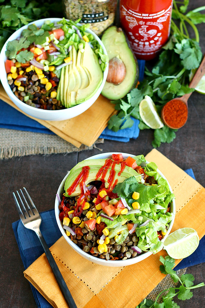 vegan Big Southwest Lentil Salad. Here are 25 delicious vegan salads that will fill you up and have a healthy source of protein. Show your friends that not 'all vegans eat is rabbit food' with these unique and delicious twists on salads #vegan