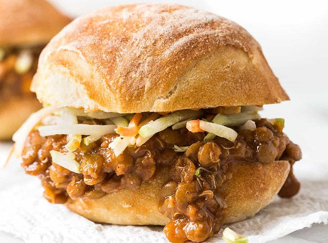 Vegan Lentil Sloppy Joe.  Here are 17 amazing vegan crock pot recipes that you won't believe are even vegan.. #vegan #crockpot #vegancrockpot #foodanddrink #veganrecipes #slowcooker #dinner