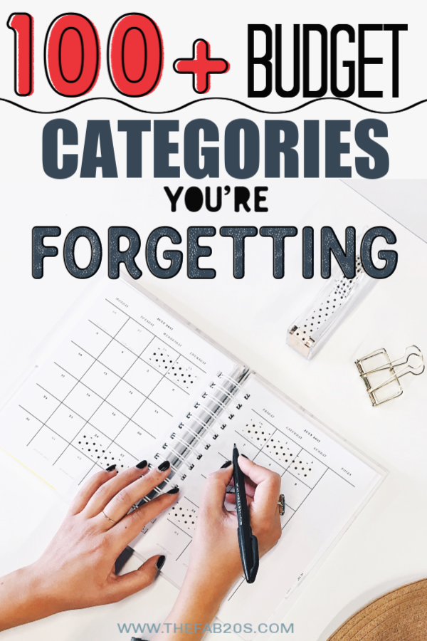 Stop struggling to start a budget!! Check out this list of over 100 budget categories! These budget categories will help you create a successful budget tailored towards your lifestyle and needs. #budget #budgetcategories #howtobudget