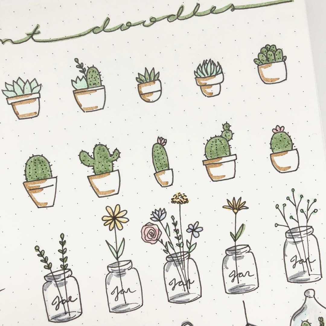 200+ Doodle Ideas To try In Your Bullet Journal/ Decorate your Bujo with these doodles. From cute cactus doodles, to sea life, to cute little food. Dress up your Bullet Journal! #doodles #bulletjournal #bujo