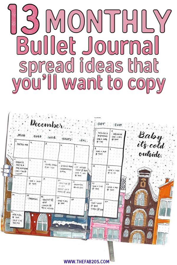 13 Monthly Bullet Journal Spready That You WIll Love!! This is EXACTLY what I needed! A list of bullet journal monthly spread ideas for inspiration. Cannot wait to try these bujo layouts next month. #bulletjournal #monthlyspreads