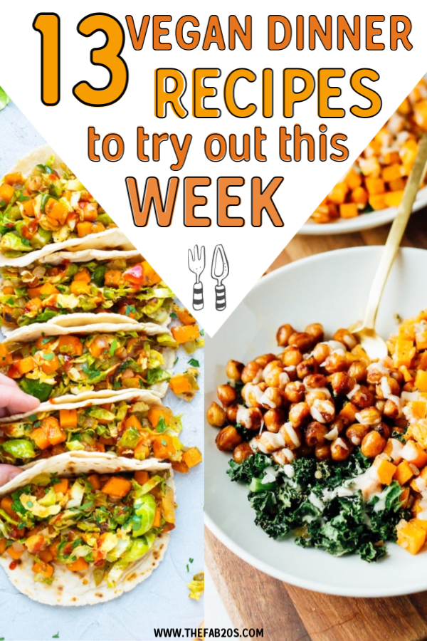 13 easy vegan dinner recipes you have to try! These plant-based dishes are nutritious and delicious and easy weeknight vegan meals to make in minutes. Ready in 30 minutes or less! Lots of healthy options from pastas to salads. 30 minute recipes vegan #vegan #dinner #plantbased