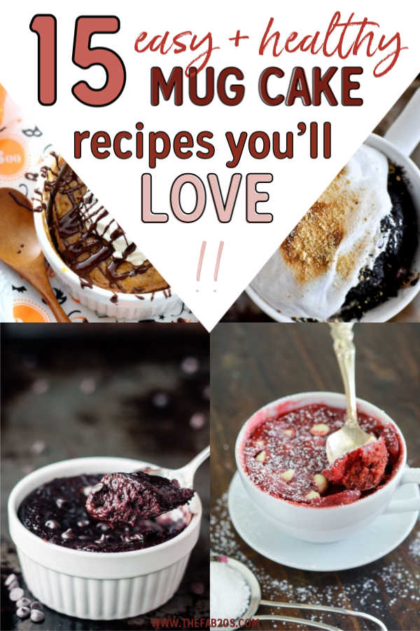 You have to try these 15 mug cake recipes, so many different varieties from nutella mug cakes to lemon mug cake. The apple and cinnamon mug cake with frosting is my favourite!