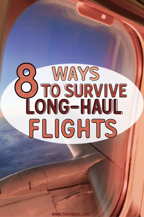 8 Travel Trips to Survive A Long Flight. A few products and travel tips to help you survive long haul flights! What to wear on long flights, what to eat, and how to entertain yourself #travel
