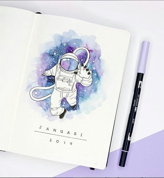 12 Galaxy and Space Themed Bullet Journal Spreads That Are Out Of This World