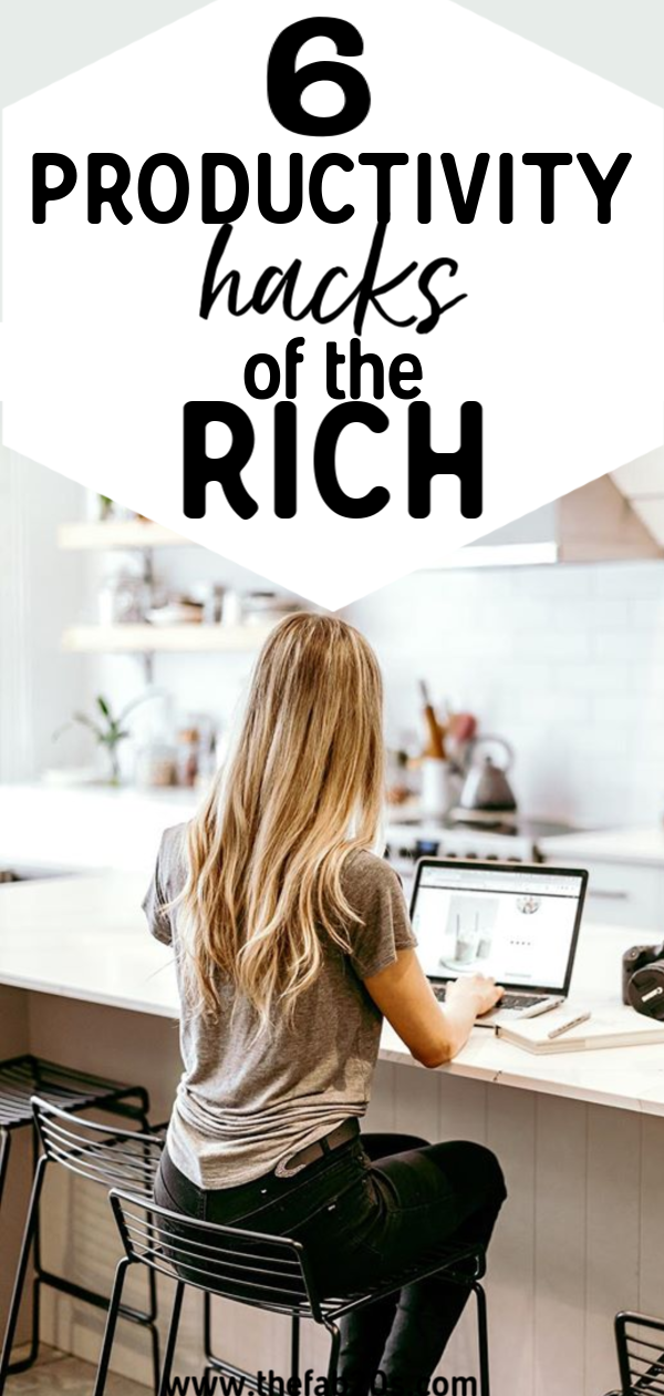 6 Productivity Hacks of the Rich. How entrepreneurs get stuff done and stay focused. Whether you're a mom or building a business, there's something here for you! Learn the secrets of millionaires. Become your most successful and productive self! Live your best life and manage your time to do the things you want to in life #productivity #rich