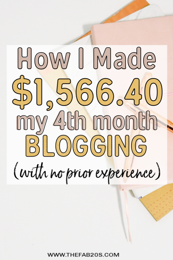 How I Made $1,566.40 My 4th Month blogging! I want to show my journey to making 10k a month blogging, which is my goal for 2019! It important to look at blog earning report to see what is and isn't working. It is very realistic to make an income online on a new blog! #incomereport #blogging