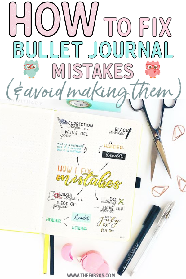 5 Quick and Easy Ways To Fix Bujo Mistakes. If you messed up in bullet journal, it's not the end of the world! There are little tips and tricks you can use in your Bujo to fix them! From using washi tape to white gel pens. Even with bullet journal bleed through, you can cover it up! My favorite hacks to cover up bullet journal mistakes. Easy Bullet Journal hacks you will love. #bulletjournal #bulletjournalhacks #bulletjournaltips #bujo
