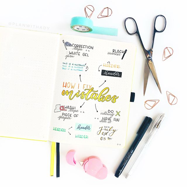 My favorite hacks to cover up bullet journal mistakes. Easy Bullet Journal hacks you will love. #bulletjournal #bulletjournalhacks #bulletjournaltips #bujo