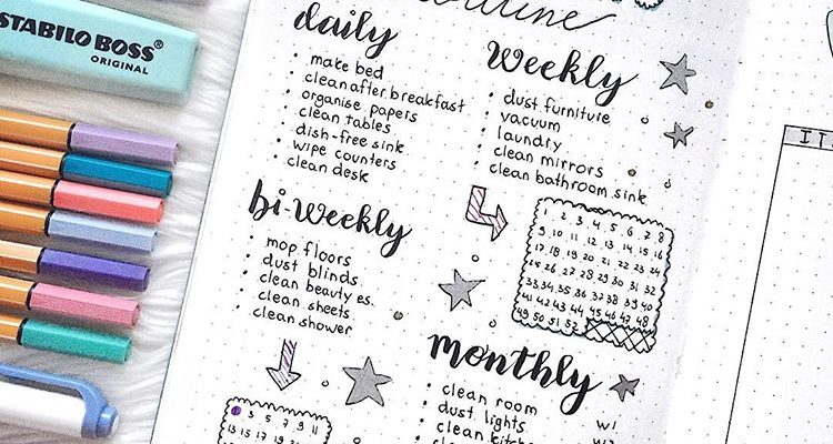13 Bullet Journal Cleaning Tracker Ideas To Keep Your Home Bright and Shiny
