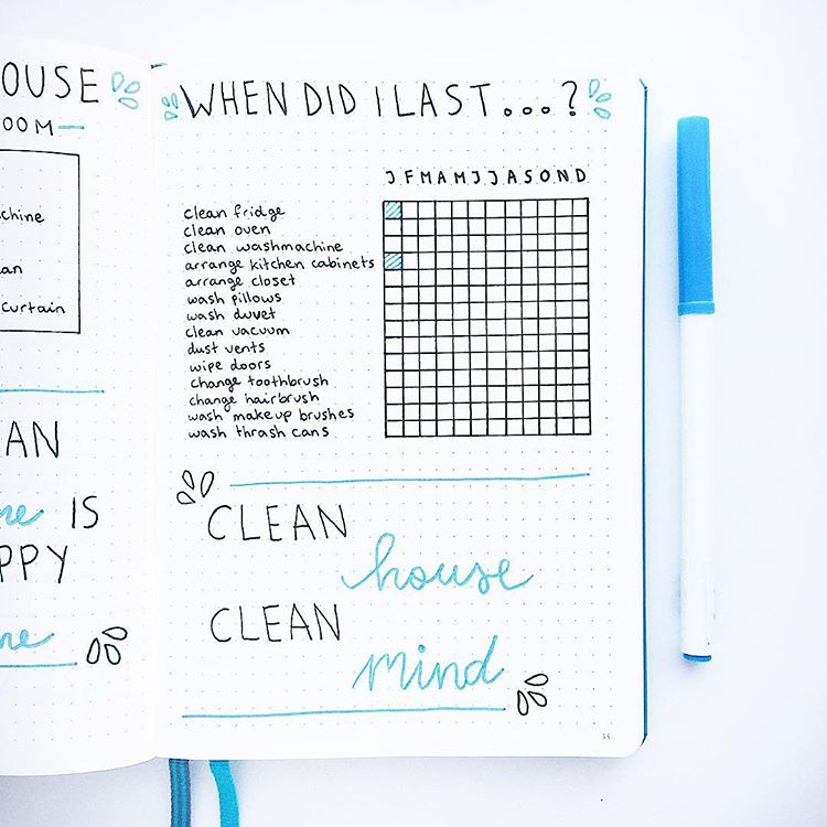 13 Bullet Journal Cleaning Spreads You'll Love!! Amazing cleaning tracker bujo ideas to try out in your bullet journal! cleaning tracker monthly spread ideas as well as weekly to keep a neat and tidy home! #bujo #bulletjournal #bujojunkies #spreadideas