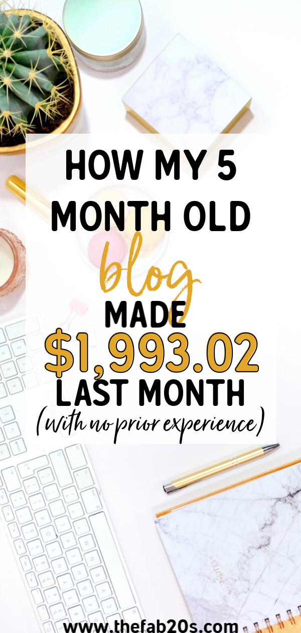 How I Made 1,993.02 My 5th Month Blogging! Income Report and Traffic report. How I made almost $2000 as a newish blogger with no experience and not in the blogging niche. Making money at home with a blog is totally possible! See how I did it and how you can start a successful money making blog as well! #incomereport #blogging #moneymakingblog