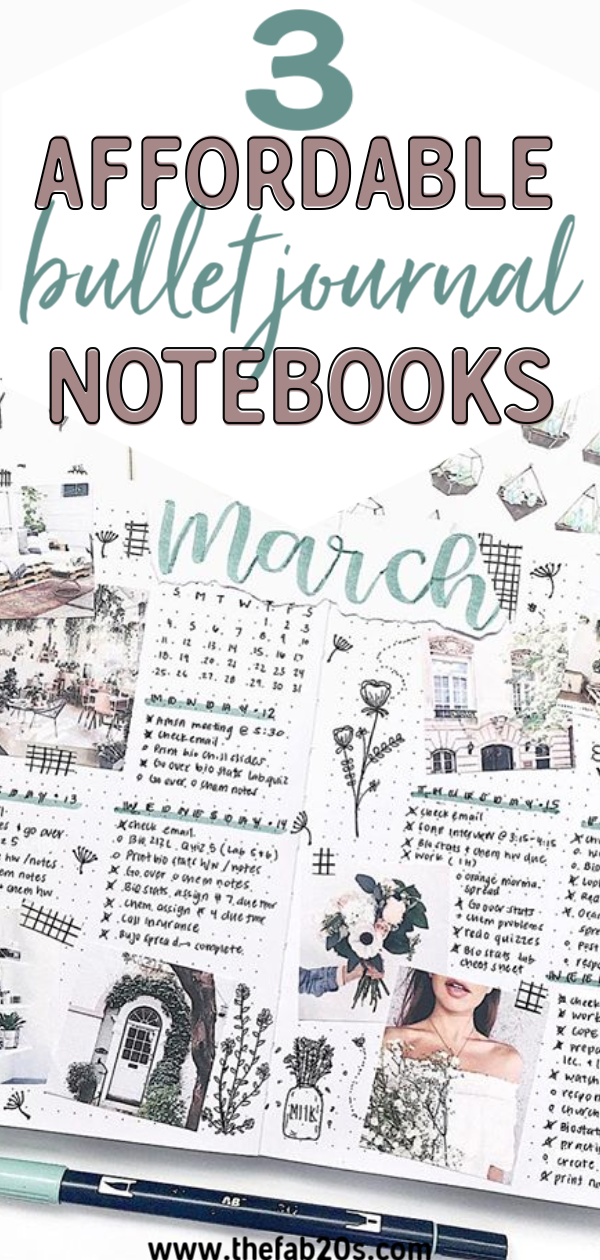 3 Affordable bullet journal notebooks to get you started! If you want to start a bullet journal, but don't want to spend a lot of money here are some cheap bullet journal supplies you will LOVE #bulletjournal #bujo #bujojunkie
