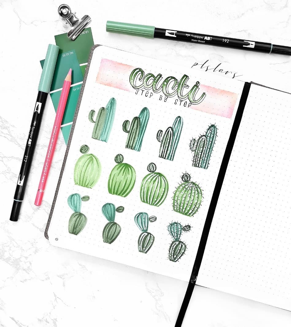 Need ideas for your BuJo?! We have 21 creative step by step cactus and succulent doodle ideas for your bullet journal!  #bujo #bujodoodles #bulletjournal #doodleideas