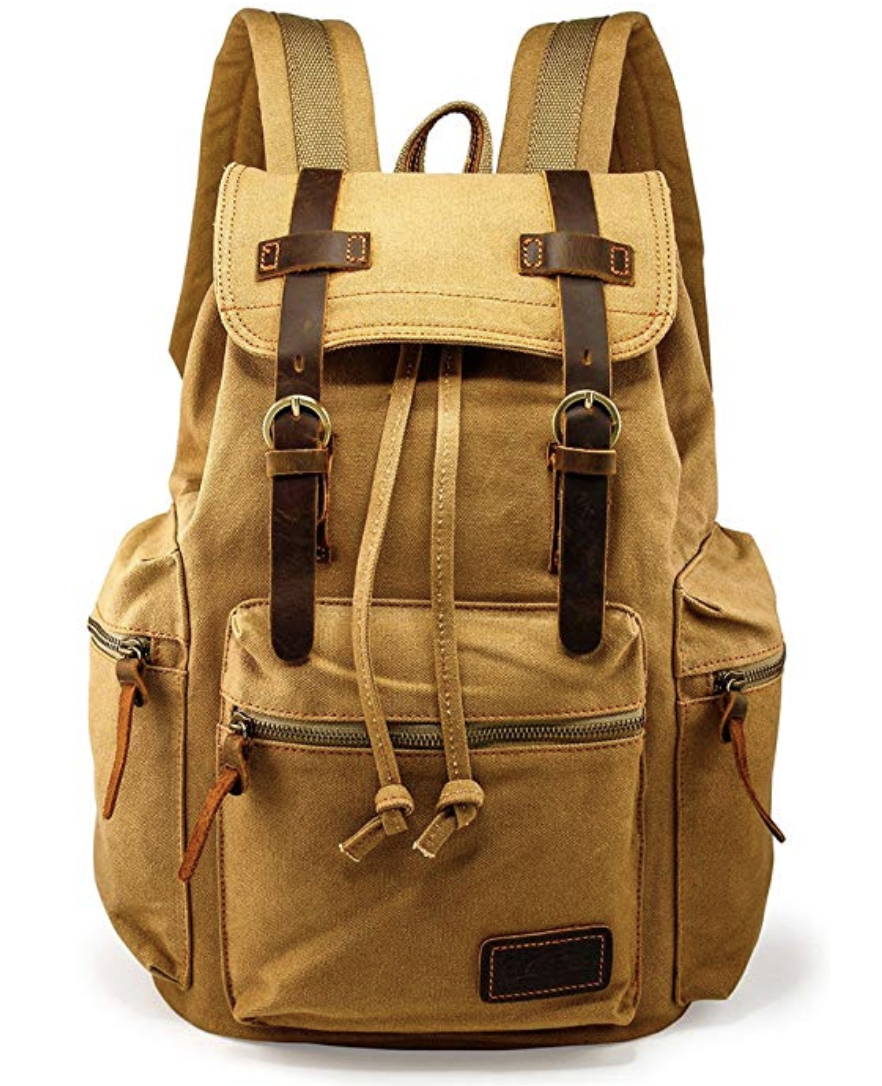Vintage Canvas Backpack Leather Laptop School Military - Christmas Gift For Boyfriend