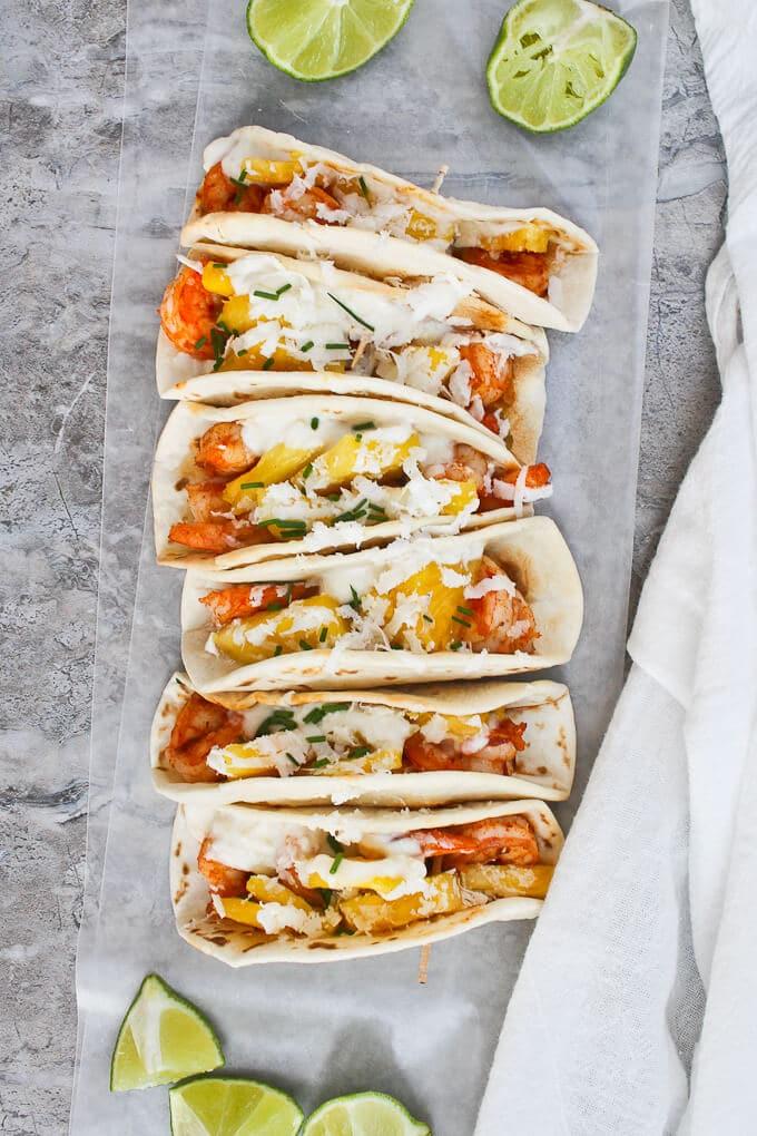 Mini Shrimp tacos with Pineapple for Taco Tuesday!