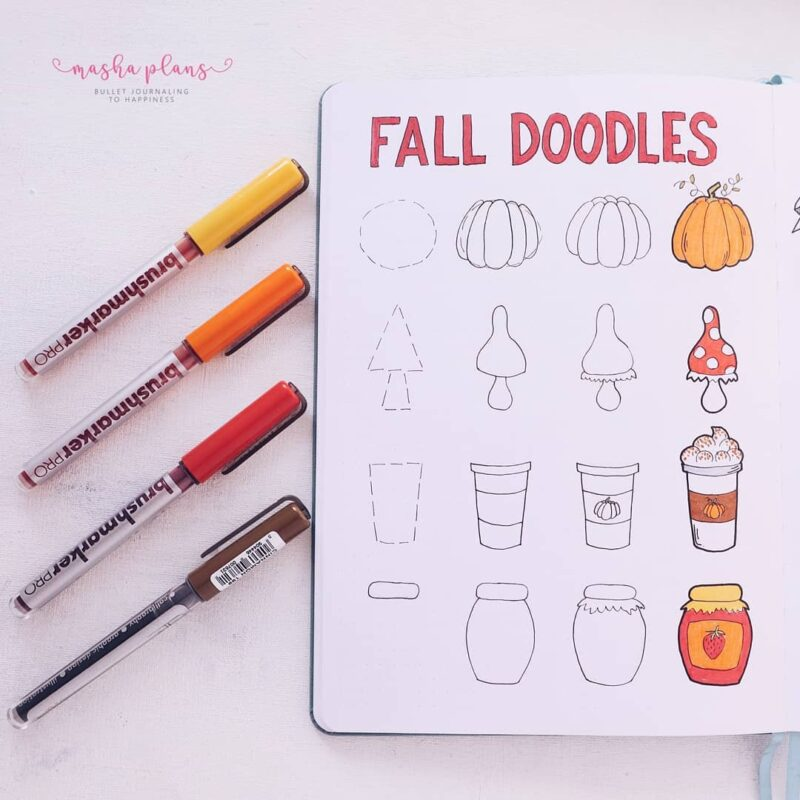 Looking for the best fall doodle ideas?! Get inspired with Autumn doodles and step-by-step guides on how to draw pumpkins, fall leaves, and more! Adorable doodle ideas for you bullet journal #doodles #FallDoodles #doodleideas