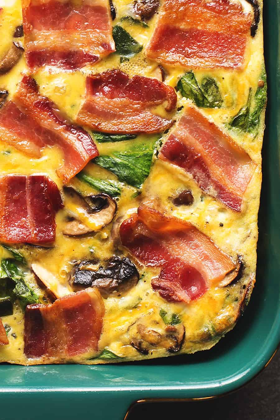 Keto Breakfast Casserole With Cheese, Bacon, Mushrooms, and Spinach