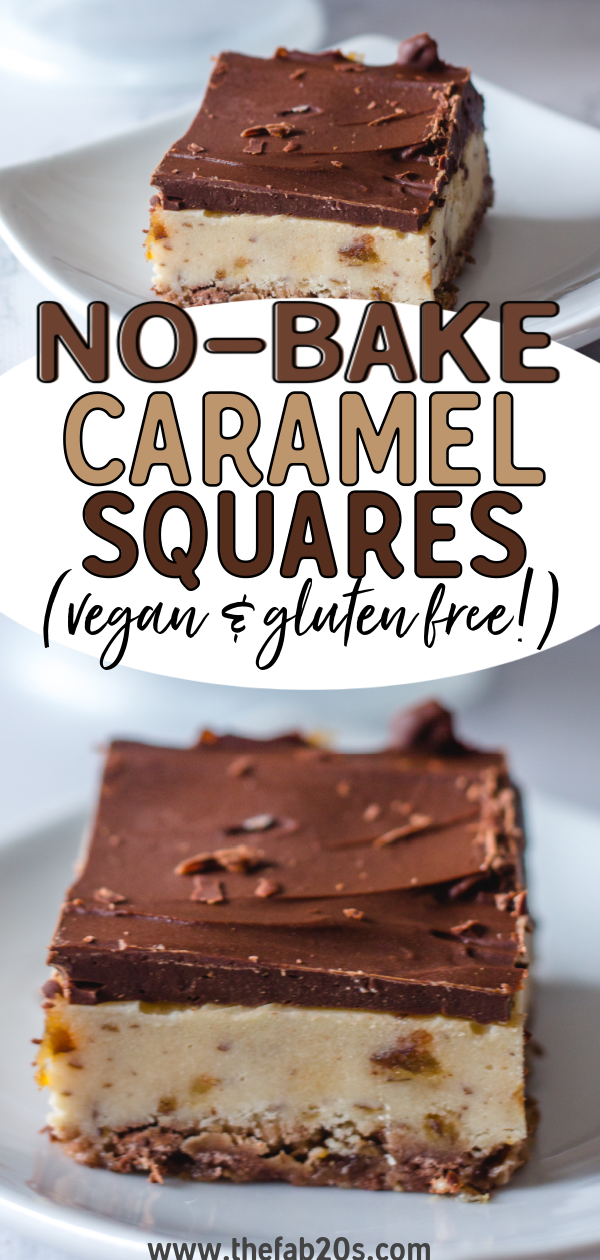 Delicious and Healthy No-Bake Caramel Bars that are PERFECT as a snack or a sweet treat. These vegan desserts are gluten-free and refined sugar free! The perfect decadent dessert that you can make in no time #dessert #vegan