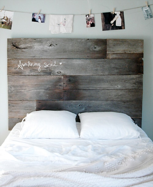 Scraps of wood used to DIY headboard for a unique bedroom aesthetic