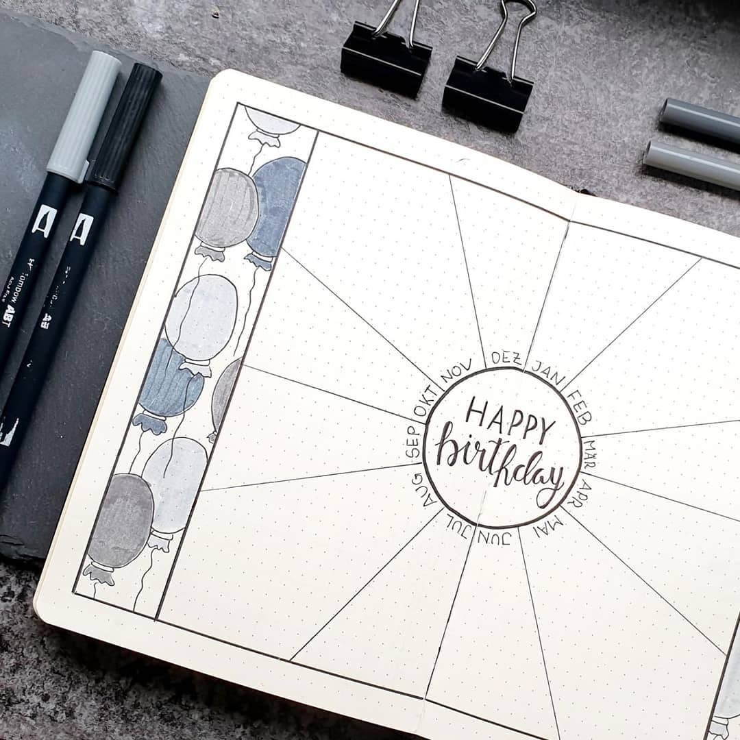 Birthday Tracker Bullet Journal Spread