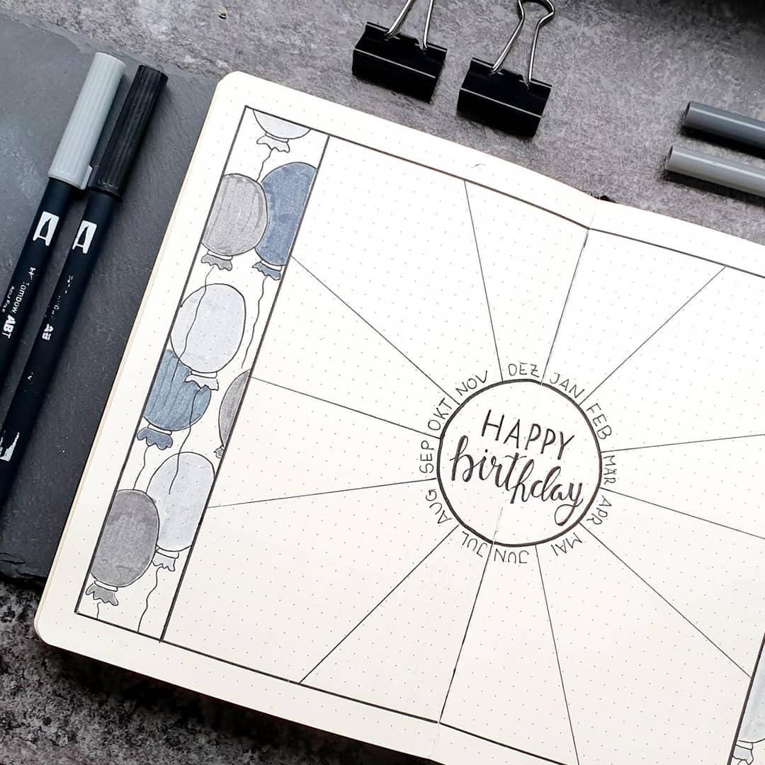 Birthday Tracker Bullet Journal Spread