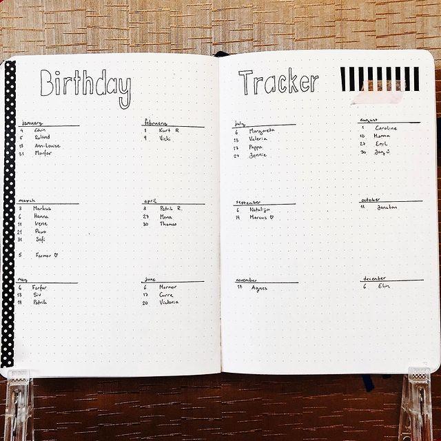 Minimalist Bullet Journal Birthday Tracker