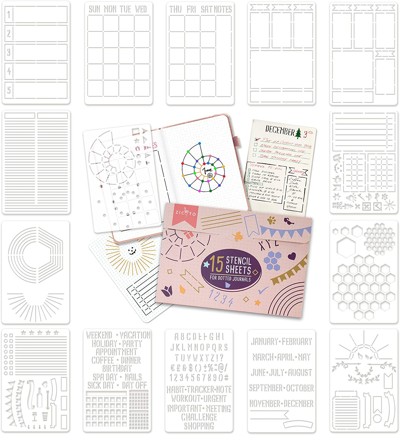 Best Bullet Journal Gift Ideas for easy decorating with this stencil set
