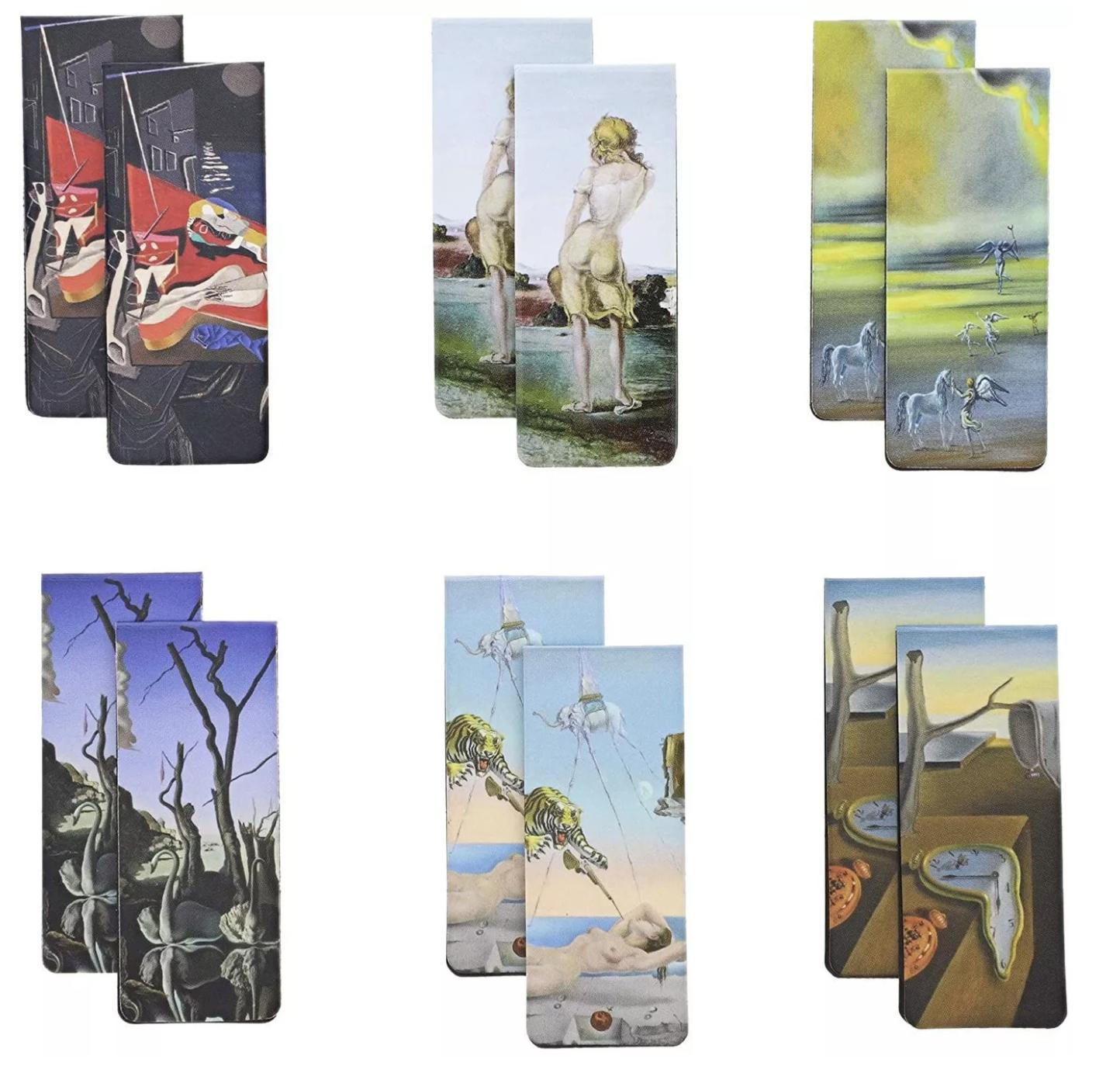 12-Pack Dali Design Inspired Magnetic Bookmarks in 6 Designs