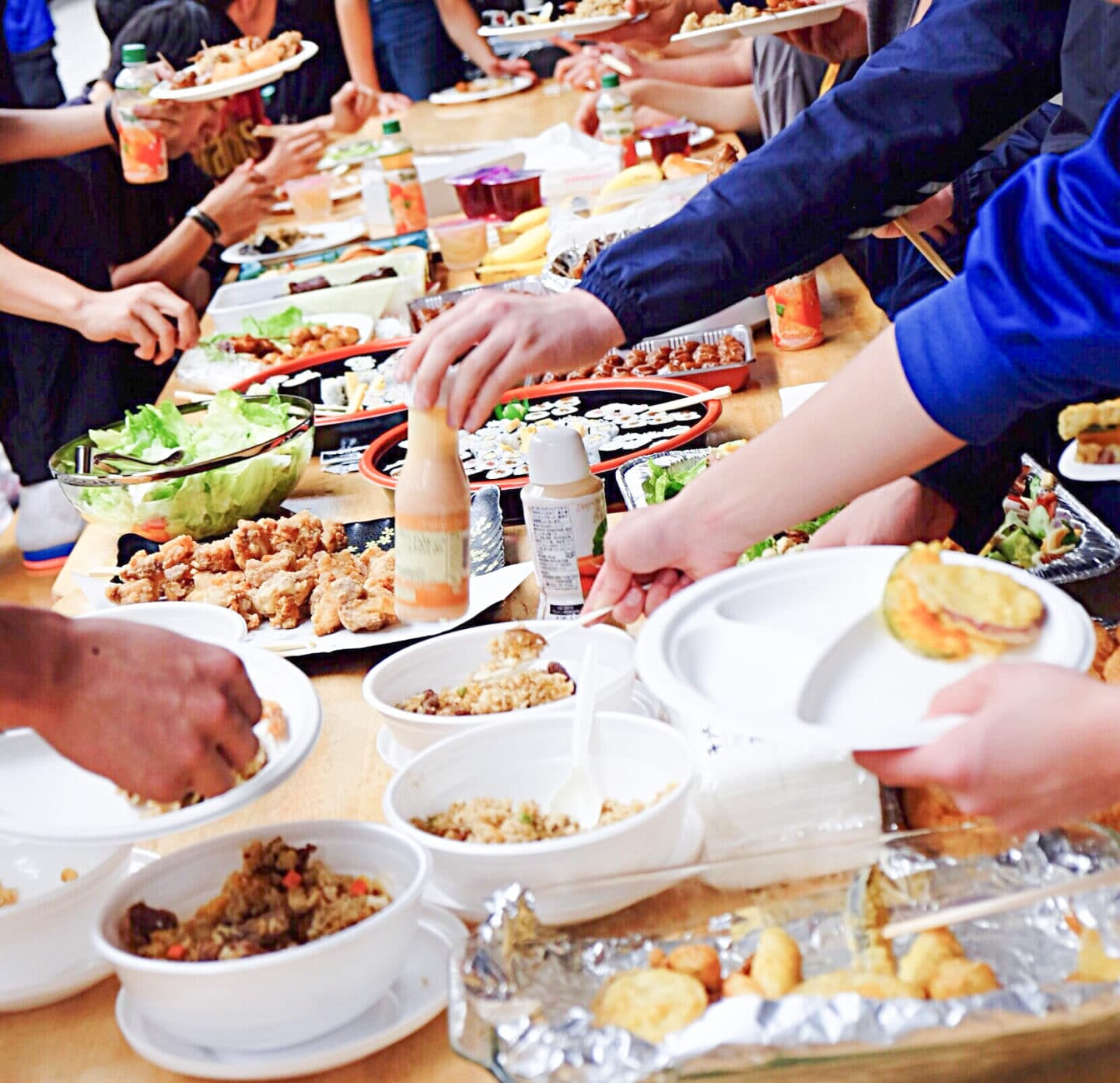 A potluck is an AMAZING idea for any and all events - it helps keep costs low during parties